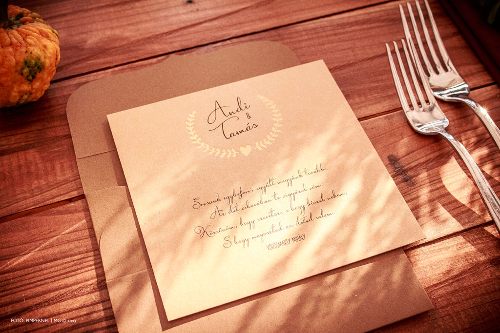 Andi és Tamás egyedi piktogramos Bay Leaf meghívója