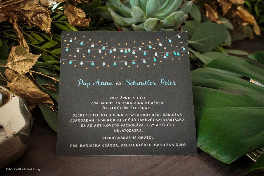 Anna és Péter egyedi Garden Party meghívója