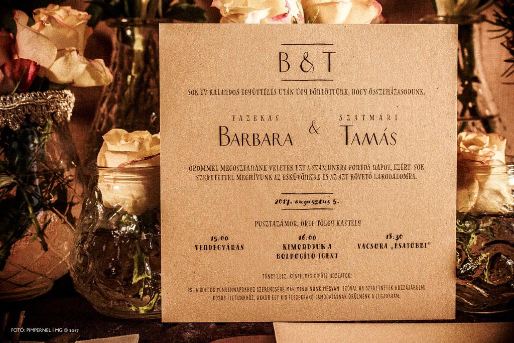 Barbara és Tamás egyedi logós kraft meghívója