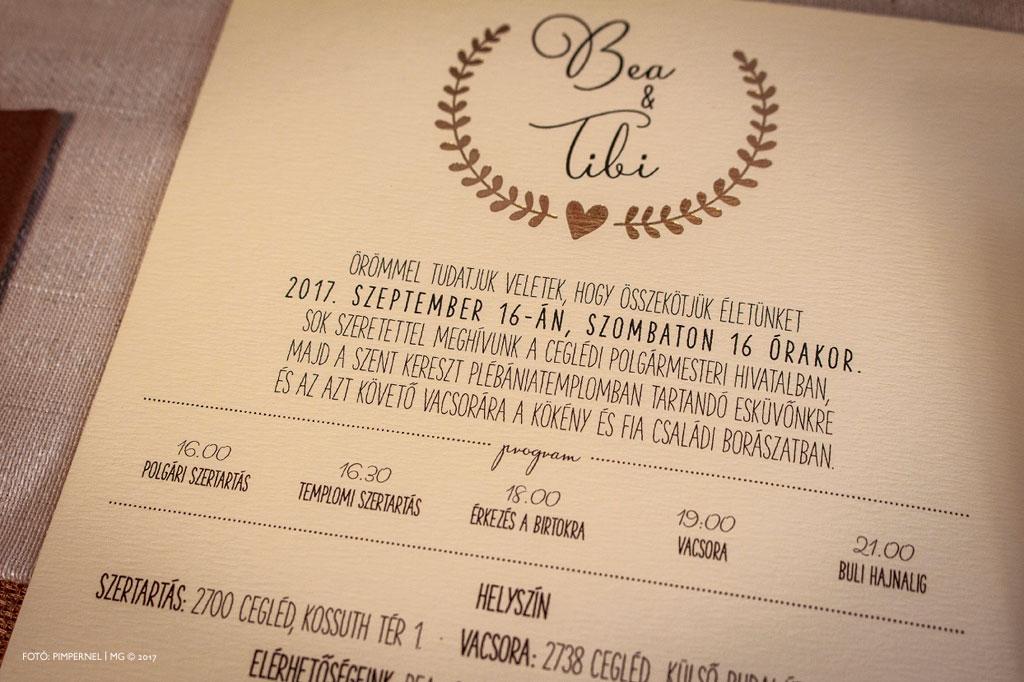Bea és Tibor Tradition papírra nyomott egyedi Bay Leaf meghívója