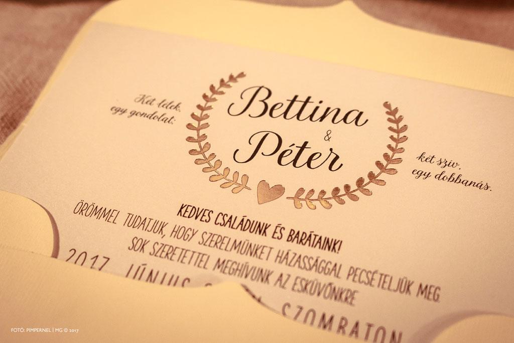 Bettina és Péter piktogramos egyedi Bay Leaf meghívója