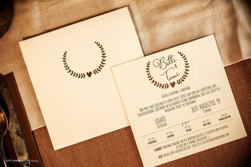 Betti és Tomi Tradition papíros egyedi Bay Leaf meghívója
