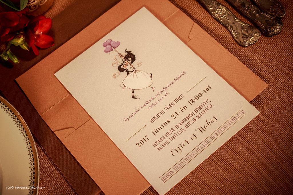Eszter és Barnabás egyedi Funny Marriage meghívója aranyozott szöveggel