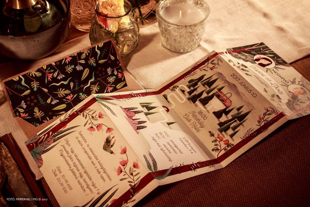 Fanni és Zsolt egyedi bélelt borítékos meghívója