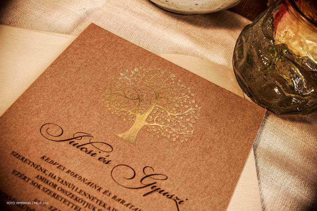 Julcsi és Gyuszi egyedi Tree Of Love Kraft meghívója