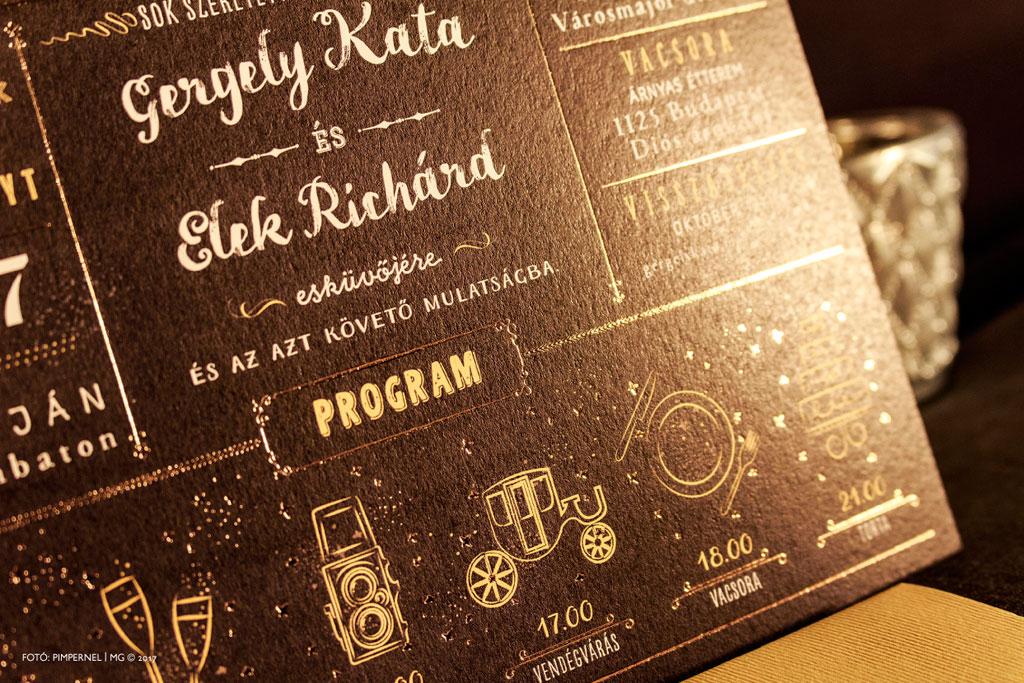 Kata és Richárd aranyozott Chalkboard meghívója