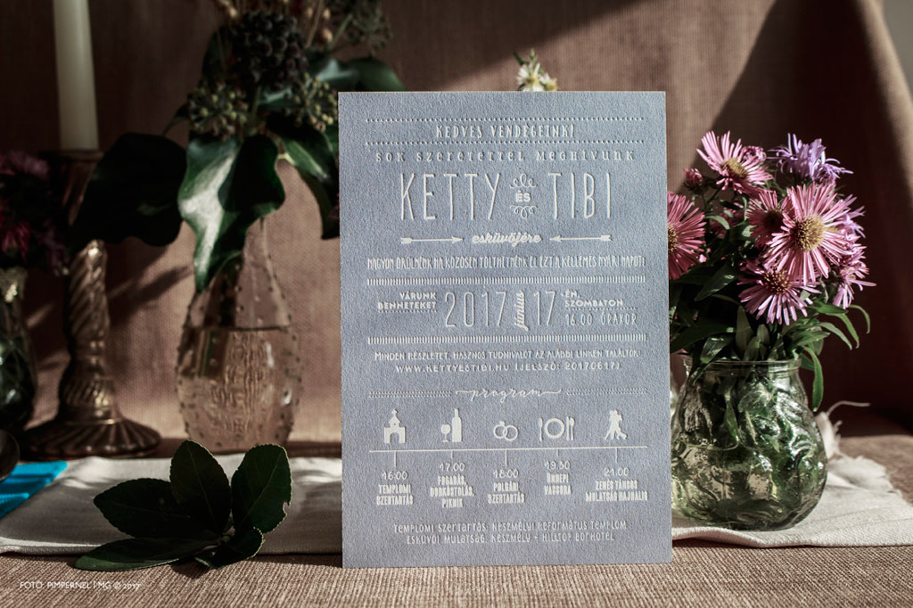 Ketty és Tibi kék lemezre nyomtatott egyedi Cool Style meghívója