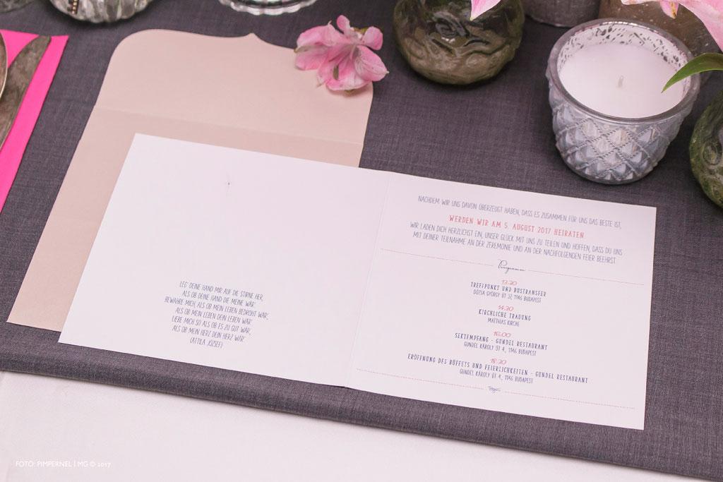 Linda és Ádám rosegold fóliás egyedi meghívója