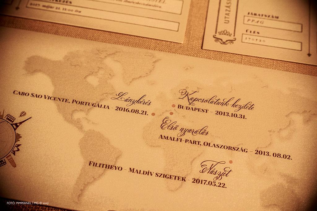 Patricia és Gábor extra klasszis aranyozott Wedding Airilines egyedi meghívója