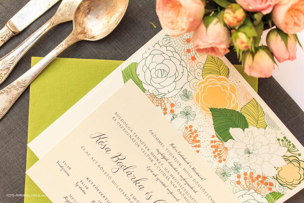 Blooming Glamour Collection – bélelt borítékos esküvői meghívó