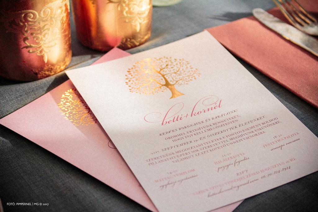 Tree Of Love 4 Rosegold Edition Collection – aranyozott esküvői meghívó