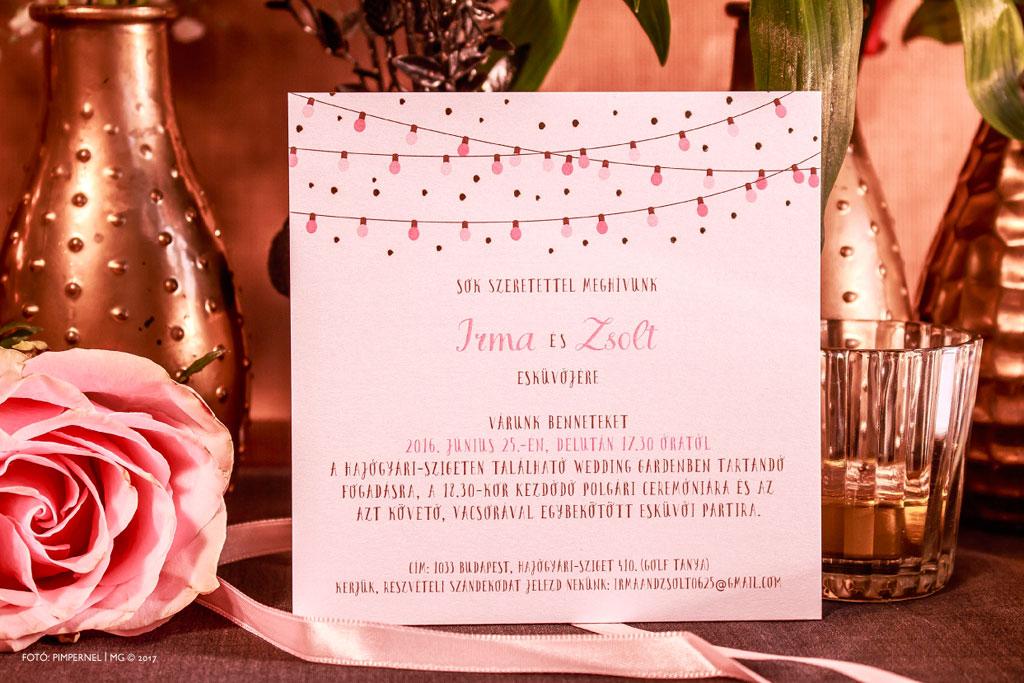 Irma és Zsolt egyedi Garden Party dobozos meghívója