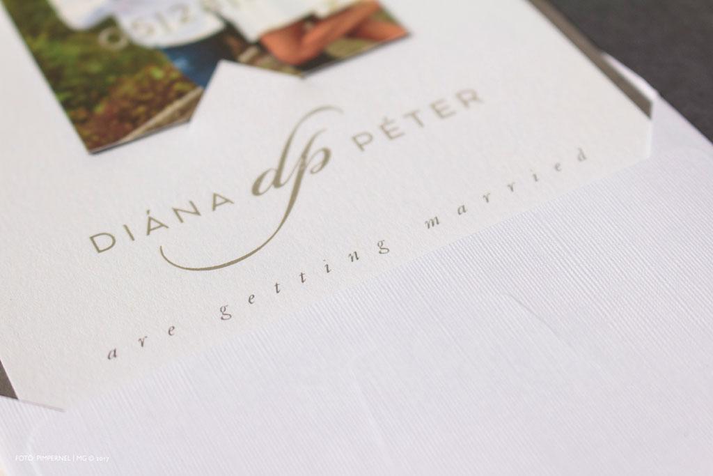 Diána és Péter egyedi std kártyája ezüst monogrammal és hűtőmágnessel