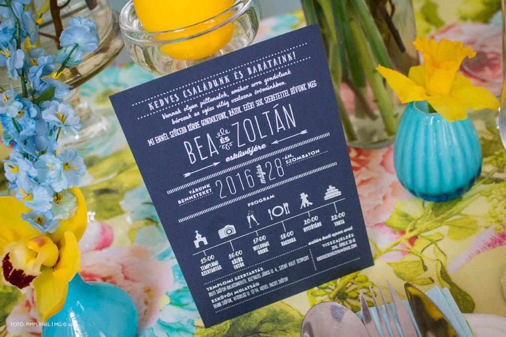 Bea és Zoltán egyedi piktogramos Cool Style meghívója