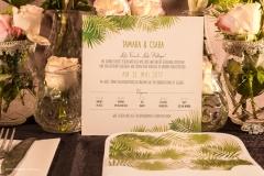 Tamara és Csaba trópusi, bélelt borítékos egyedi meghívója