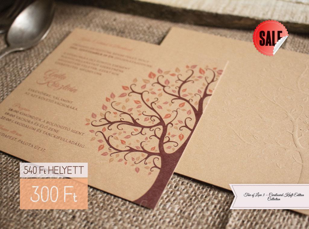 Tree of Love 3 – Cardboard Collection – Kraft Edition esküvői meghívó b2a88f07f2