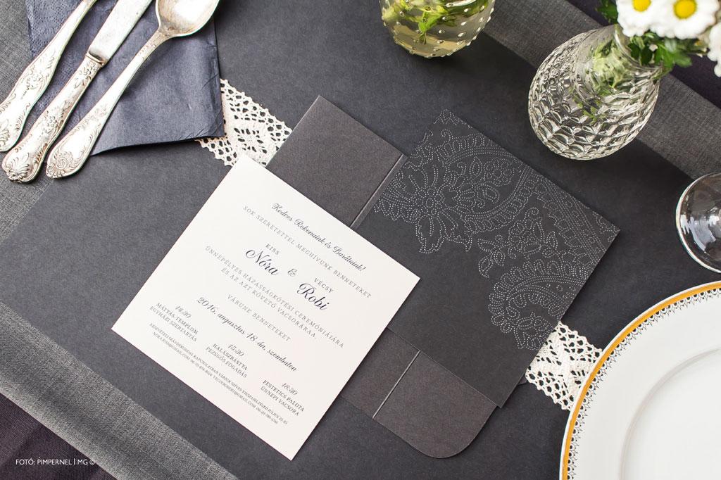 Sugarmice Black – aranyozott esküvői meghívó
