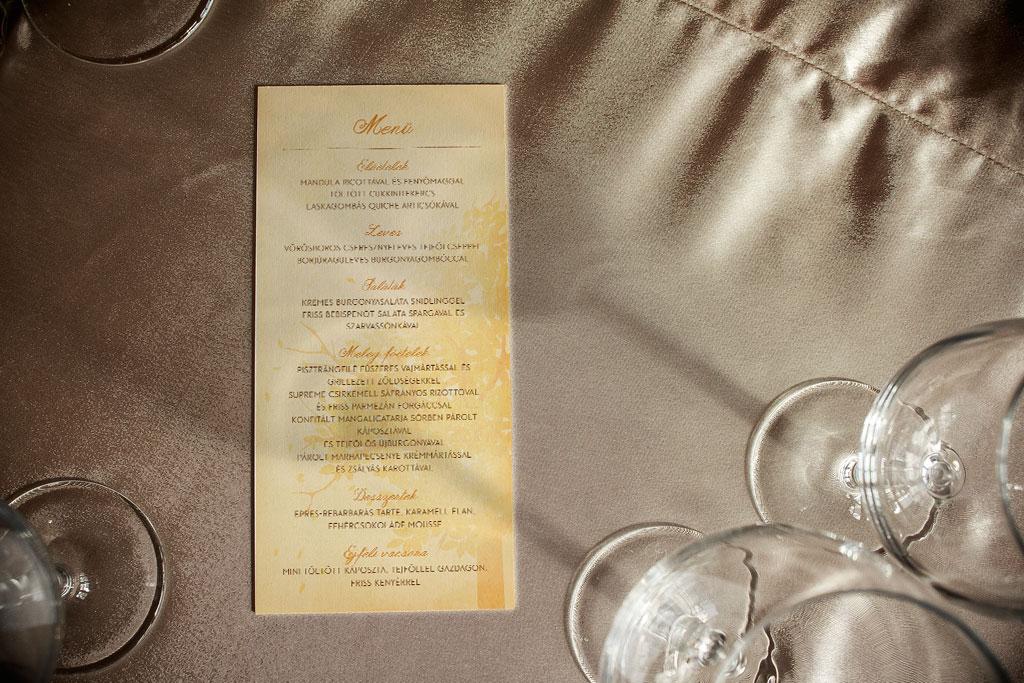 menükártya, egylapos menükártya, terítékenkénti menükártya, meghívó, esküvői meghívó