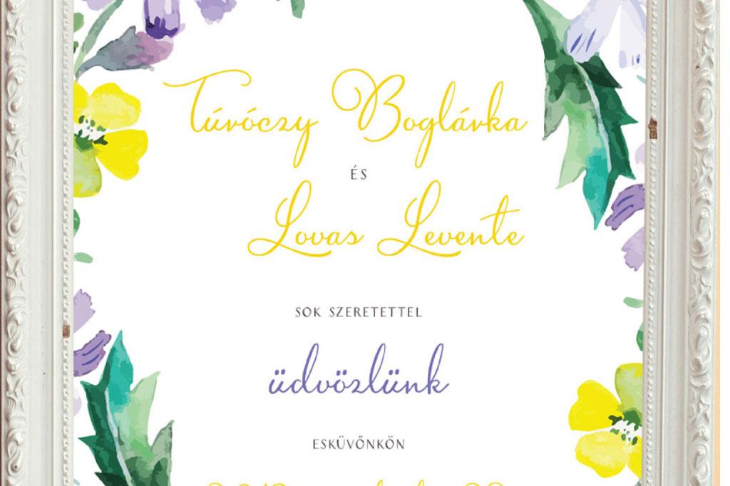 welcome tábla, meghívó, esküvői meghívó, egyedi meghívó