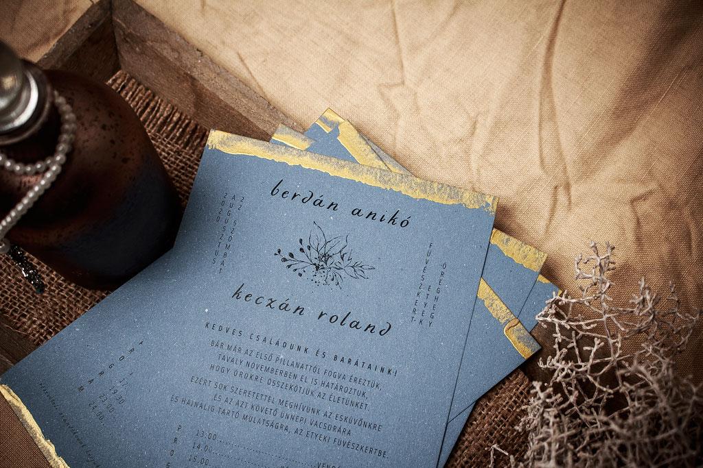 Toscan Wild Kraft Edition – kézzel festett aranyozott meghívó