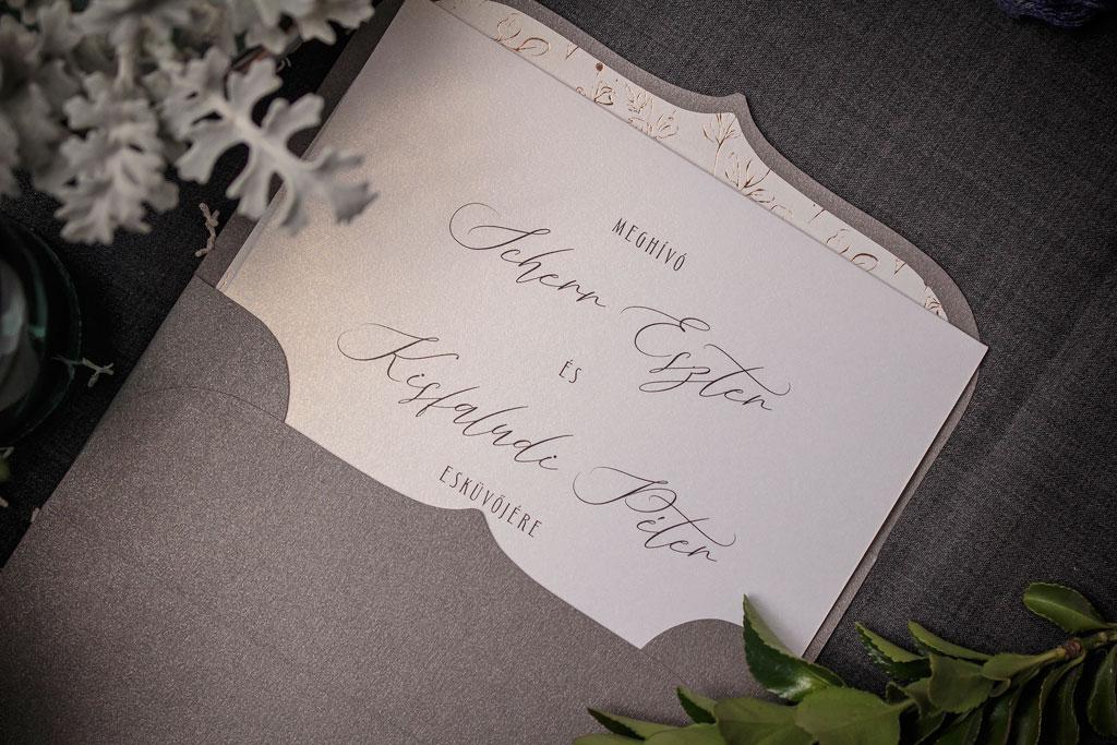 Golden Blossoms Rose Pearl Edition – rosegold béléses esküvői meghívó
