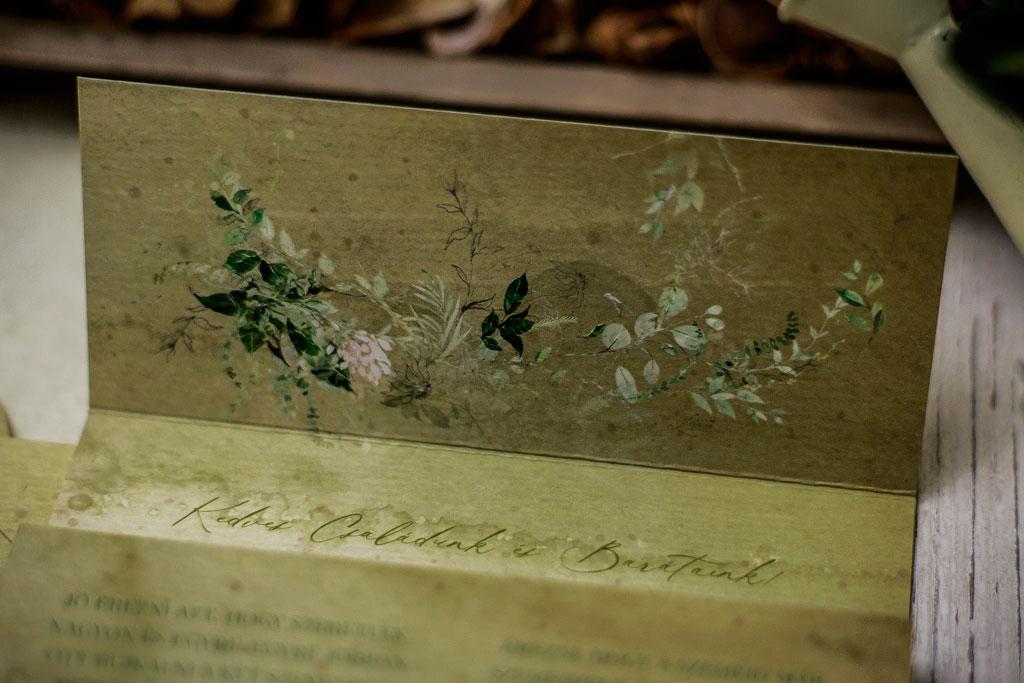 Secret Garden #06 Color Edition – nyomtatott borítékos rusztikus greenery meghívó
