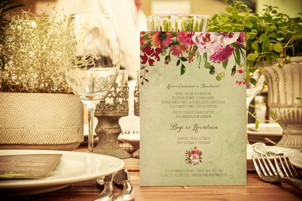 Florabella  #005 – babarózsás esküvői meghívó