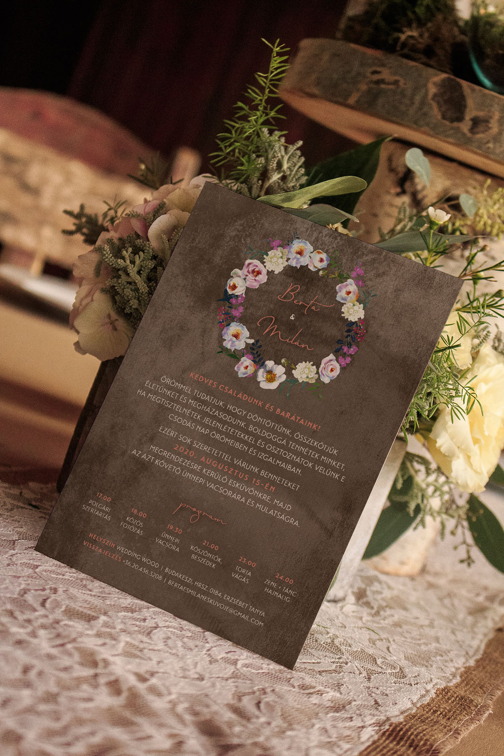 Florabella  #010 – fehér bazsarózsás meghívó