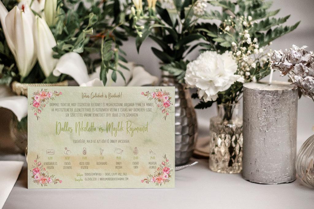 Florabella  #017 – tavaszi pasztel virágos esküvői meghívó