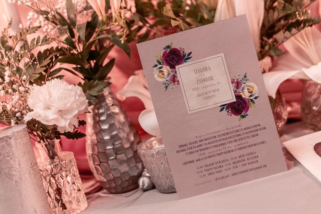 Florabella  #029 – bordó virágos esküvői meghívó