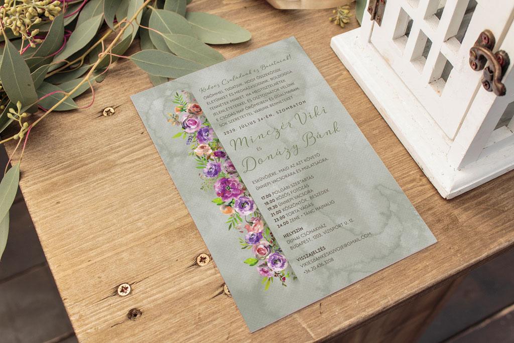 Florabella  #032 – barackvirág lila virágos esküvői meghívó
