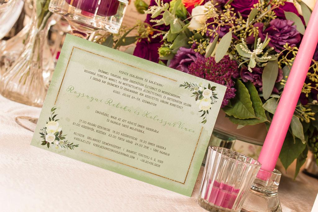 Florabella  #035 – fehér virágos esküvői meghívó