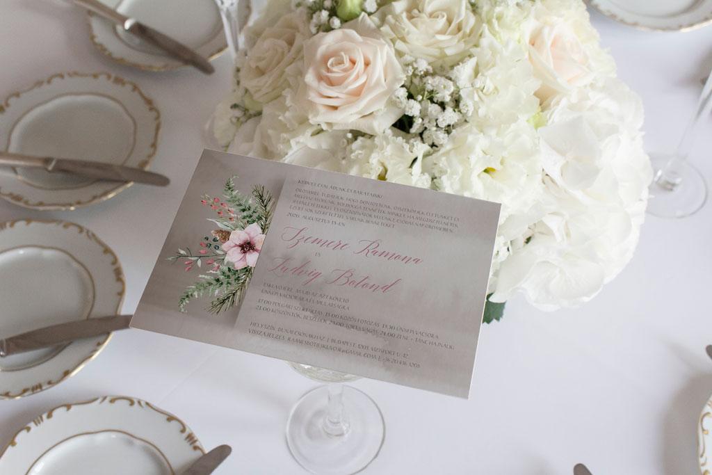 Florabella  #036 – rózsaszín vadvirágos esküvői meghívó
