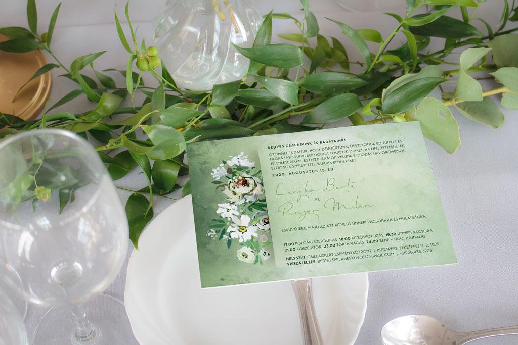 Florabella  #037 – fehér virágos esküvői meghívó