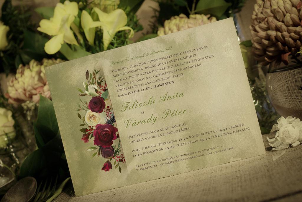Florabella  #038 – bordó fehér téli meghívó