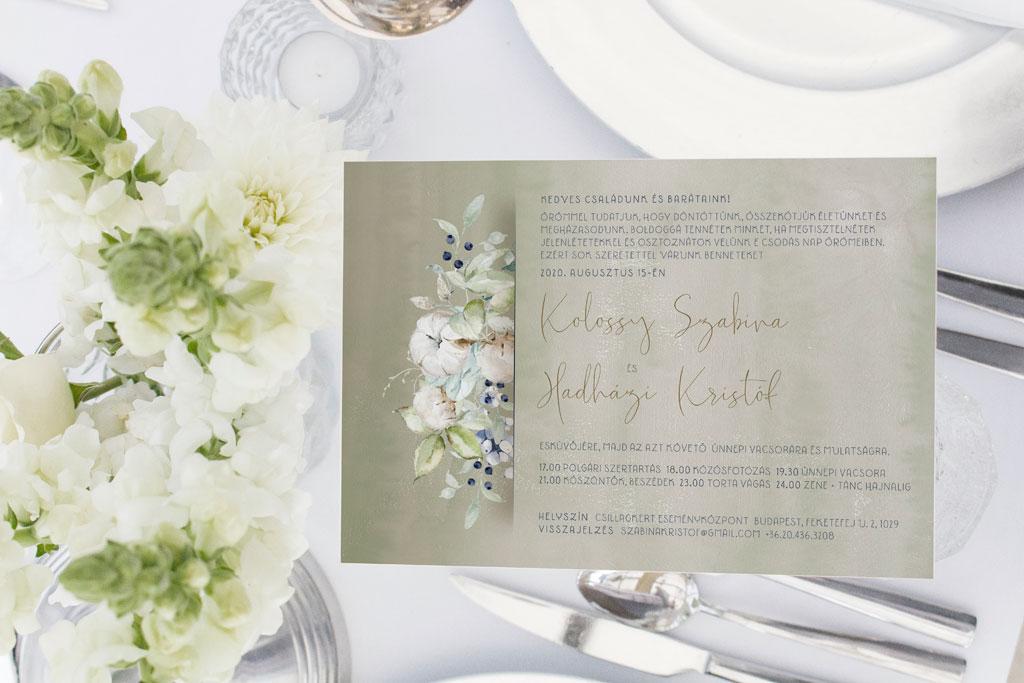 Florabella  #039 – téli virágos esküvői meghívó